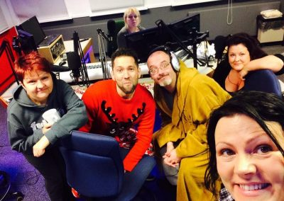 Pyjama Christmas party is under way with the Fizzogs on the radio